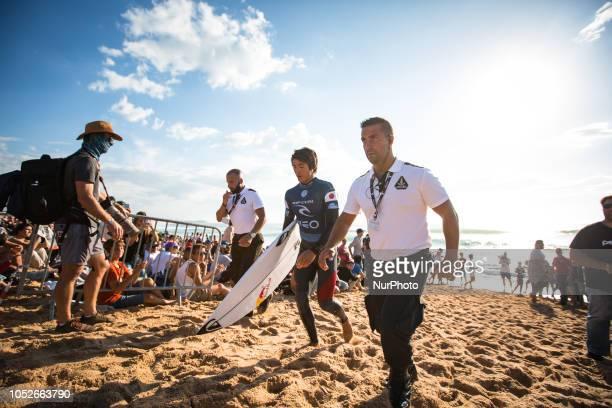 Japanese surfer Kanoa Igarashi, after finishing the heat.