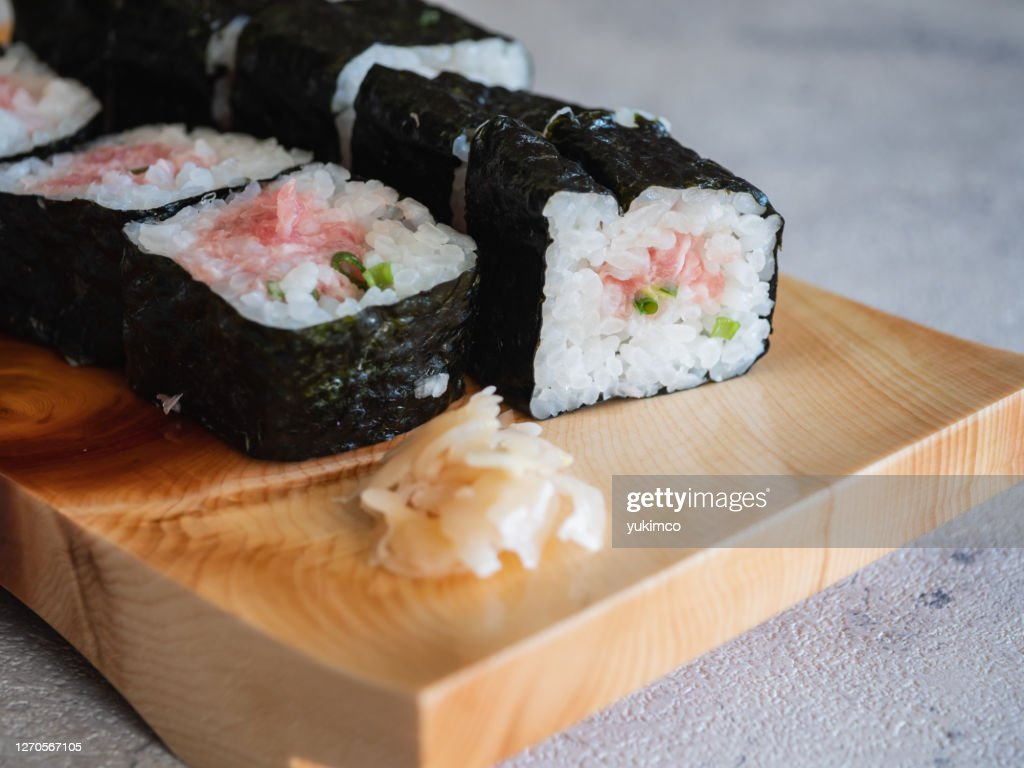 Japanese sushi. Minced tuna roll close-up. : Stock Photo