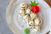japanese sushi with sesame seeds cream