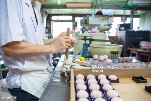 japanese sweet master - wagashi stock pictures, royalty-free photos & images