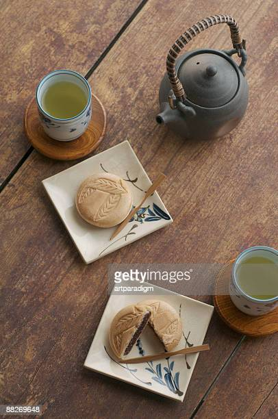 Japanese sweets called Monaka on wooden table