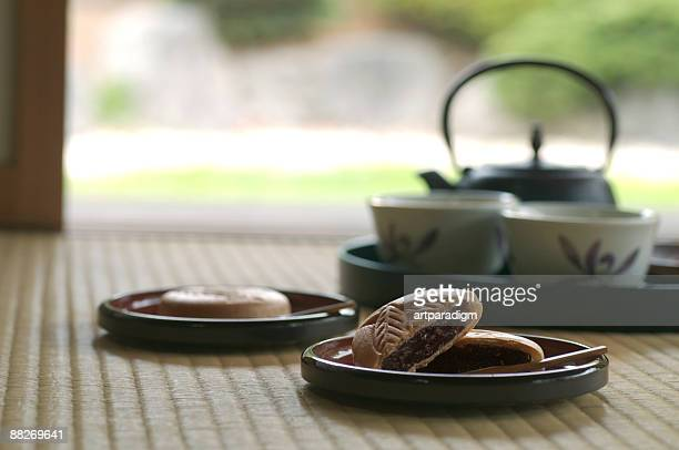 Japanese sweets Monaka with teaset