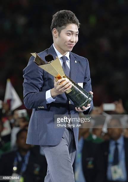 Japanese swimmer Kosuke Hagino of Japan is named the MVP for the Asian Games during the Closing Ceremony of the 2014 Asian Games at Incheon Asiad...