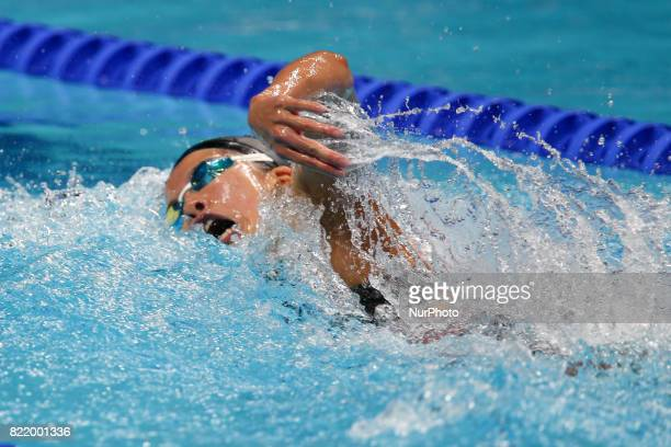 Japanese swimmer Yui Ohashi competes during the final in the women's 200 meters individual medley of the FINA World Championships in Budapest Hungary...