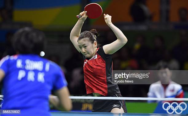 Japanese table tennis icon Ai Fukuhara plays her singles bronze medal match against North Korea's Kim Song I at the Rio Olympics on Aug 10 2016 Kim...
