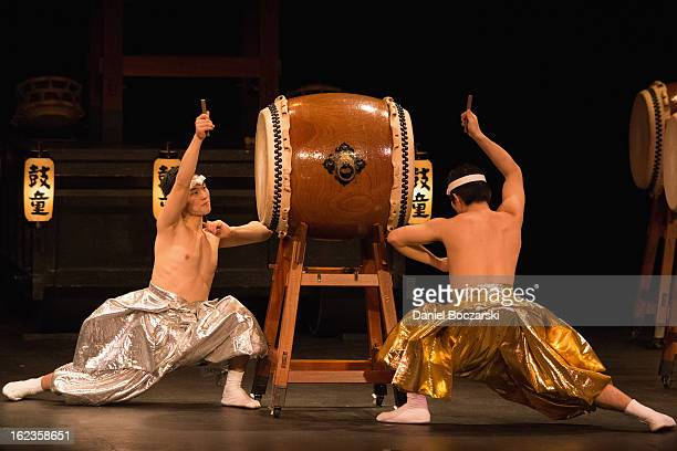 Japanese taiko drumming troupe Kodo performs at The Pabst Theater at on February 21 2013 in Milwaukee Wisconsin