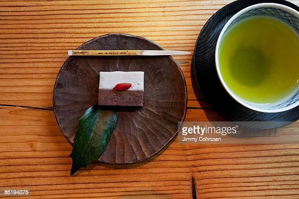 japanese tea and wagashi, desert - 和菓子 ストックフォトと画像