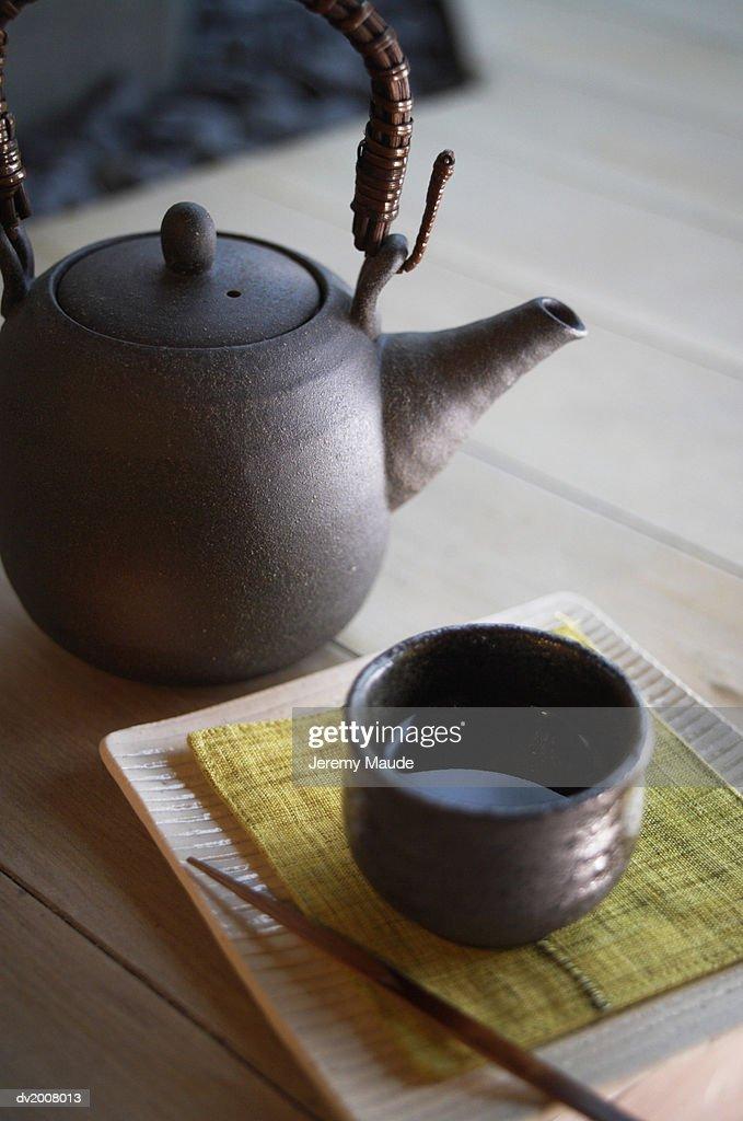 Japanese Tea pot and Teacup : Stock Photo