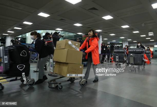 Japanese team memebers and officials arrive at Yangyang International Airport on February 4 2018 in Pyeongchanggun South Korea