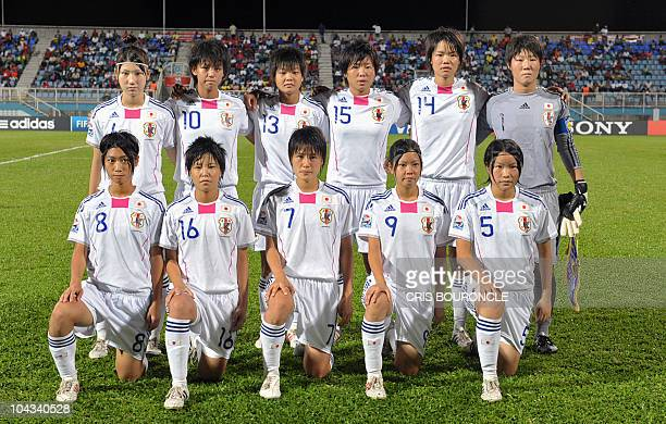 Japanese team players pose before the FIFA Women's Under17 semifinal match against North Korea on September 21 at the Ato Boldon Stadium in Couva...