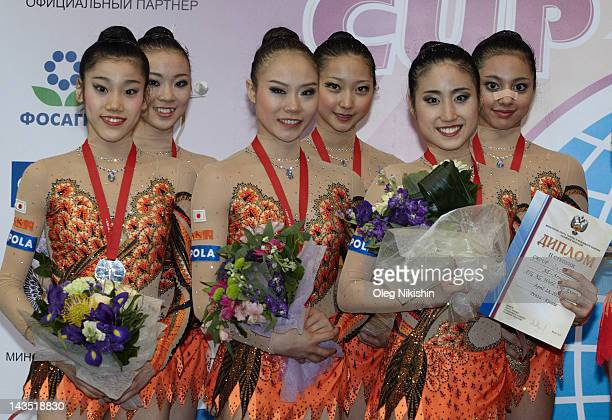 Japanese team takes second place in group competition of FIG Rhythmic Gymnastics World Cup in Penza on April 28 2012 in Penza Russia