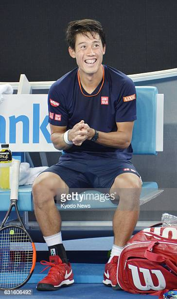 Japanese tennis player Kei Nishikori smiles during a practice session in Melbourne on Jan. 13 ahead of the Australian Open. World No. 5 Nishikori...