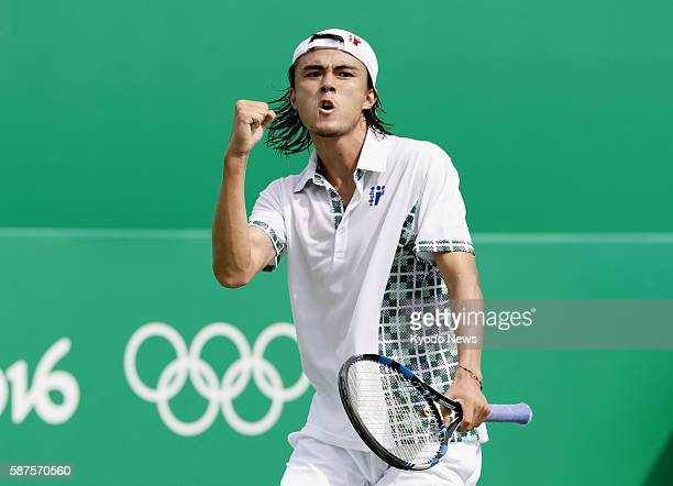 Japanese tennis player Taro Daniel pumps his fist as he wins a point in a secondround singles match against Kyle Edmund of Britain at the Rio de...