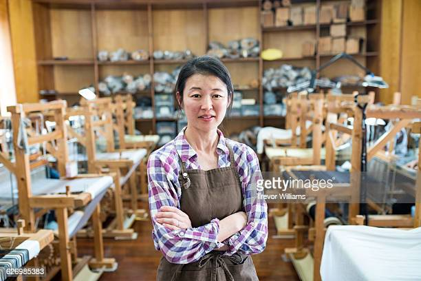Japanese textile worker in her workshop