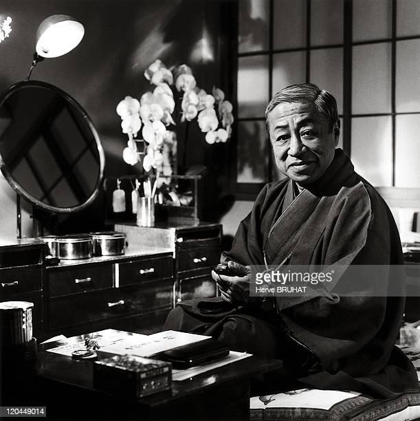 Japanese Theater Nakamura Tomijuro V in Tokyo Japan in 1997 Nakamura Tomijuro V national living treasure in his dressing room at the Kabukiza