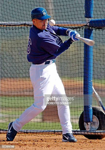 Japanese third baseman Norihiro Nakamura bats during his first day of practice with the Los Angeles Dodgers at their Vero Beach Florida spring...