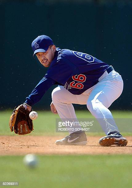 Japanese third baseman Norihiro Nakamura field the ball during his first day of practice with the Los Angeles Dodgers at their Vero Beach Florida...