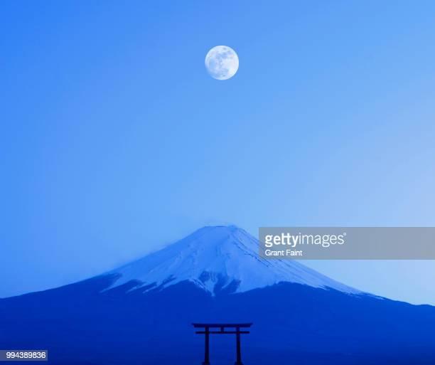 Japanese tori gate:composite image. Mount Fuji