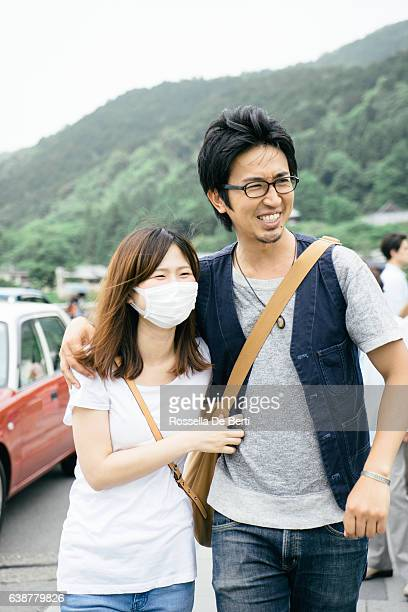 Japanese tourists walking in the countryside