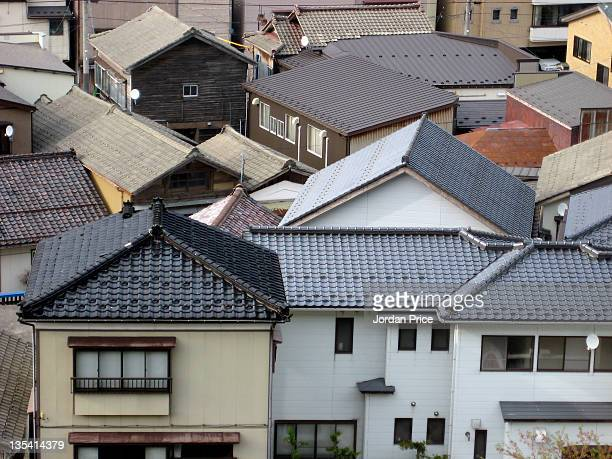 Japanese town rooftops