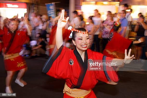 japanese traditional awaodori dance festival at kagurazaka, tokyo - awa dance festival stock photos and pictures