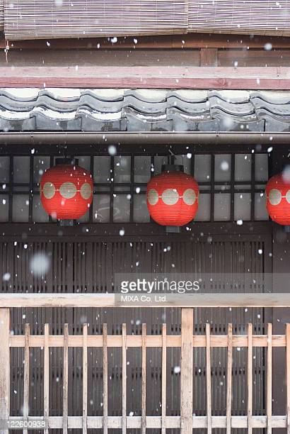 Japanese traditional building and snow