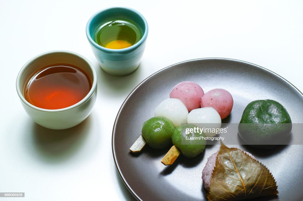 Japanese traditional confectionery and tea : Stock Photo