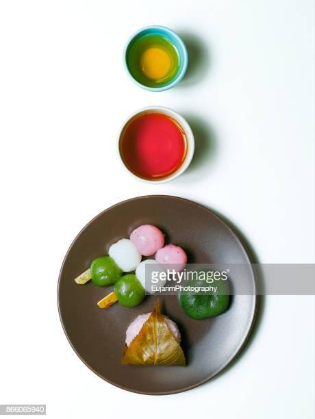 Japanese traditional confectionery and tea