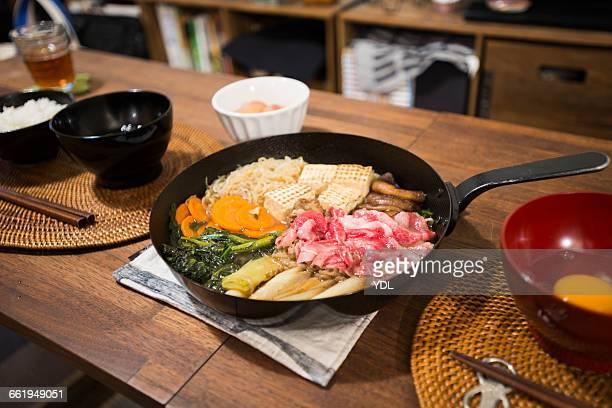 Japanese traditional cuisine Sukiyaki.