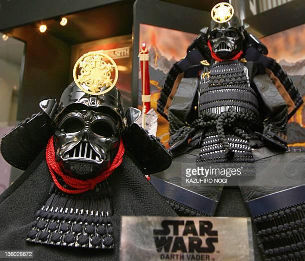 Japanese traditional doll maker Yoshitoku displays Kabuto Yoroi or Gogatsu Ningyo shaped American film character Darth Vader of the Star Wars series...