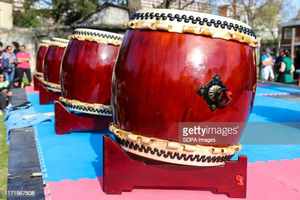 Japanese traditional drums seen during the Japan Fest 2019 in Montevideo. Every year, the Japanese Embassy in Uruguay organizes the Japan festival...