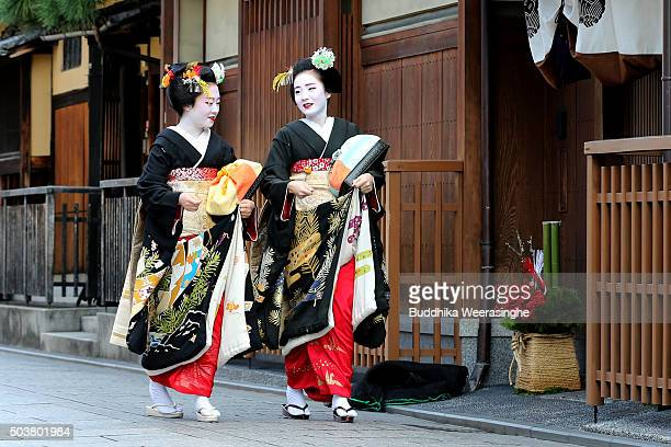 Japanese traditional female dancers maikos and performers geikos attend the new year's ceremony at the Gion Kobu Kaburenjo Theater on January 7 2016...