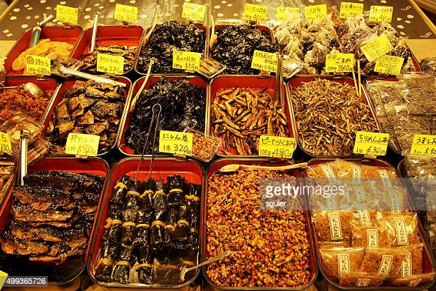 japanese traditional food kyoto japan - nishiki market stock photos and pictures