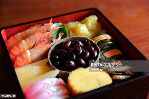 japanese traditional new year's food called osechi - dia de ano novo imagens e fotografias de stock
