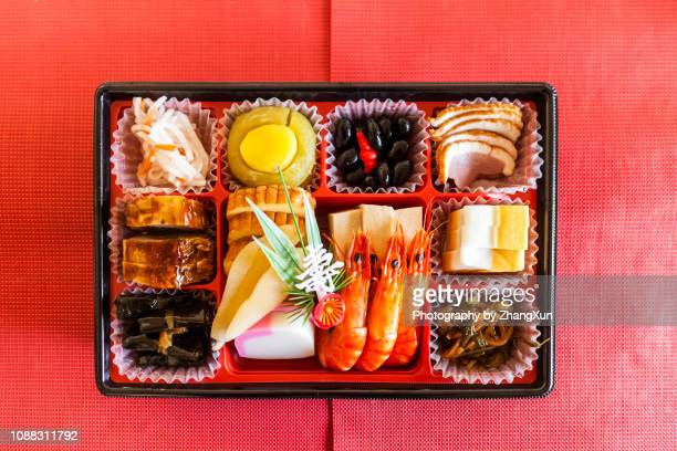 japanese traditional new year's food, osechi dish. - osechi ryori stock pictures, royalty-free photos & images