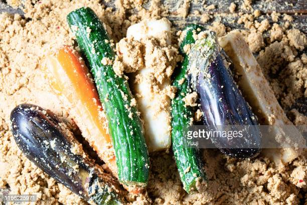 Japanese traditional pickles. Nukazuke of eggplant and a cucumber and a Japanese radish and the carrot.