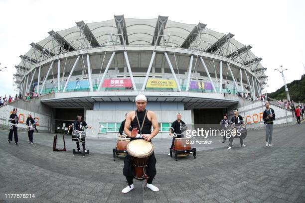 Japanese traditional taiko drum is performed outside the stadium prior to the Rugby World Cup 2019 Group A game between Japan and Ireland at Shizuoka...