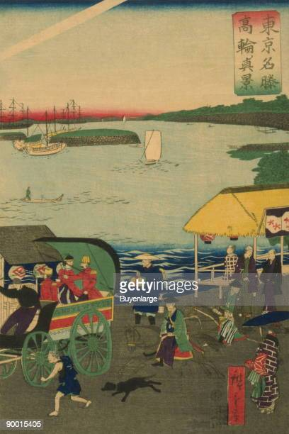Japanese triptych print showing a busy street with people walking riding in carriages on horseback and in a litter many small and large boats sail in...