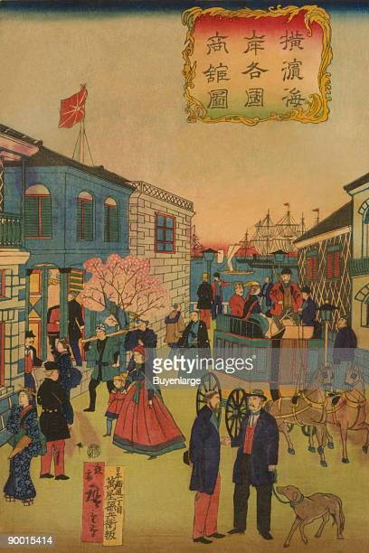 Japanese triptych print showing foreign and Japanese people walking and talking on a street some people ride in carriages and on horseback ships in...