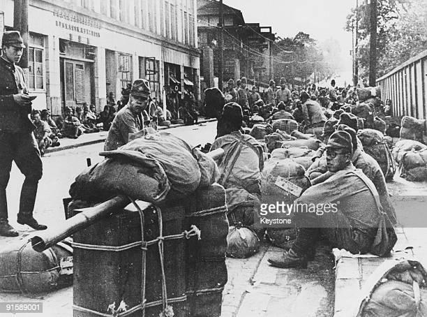 Japanese troops await demobilisation a month after the surrender of Japan Tokyo 26th September 1945