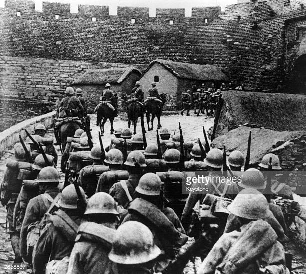 Japanese troops entering Manchuria in the wake of the socalled Mukden Incident during the SinoJapanese War