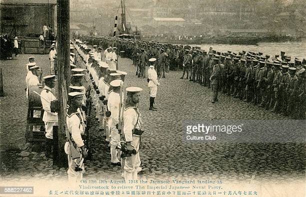 Japanese troops landing at Vladivostok, Russia, 11 August 1918. During Siberian Intervention. Dispatch of troops of the Entente powers to the Russian...