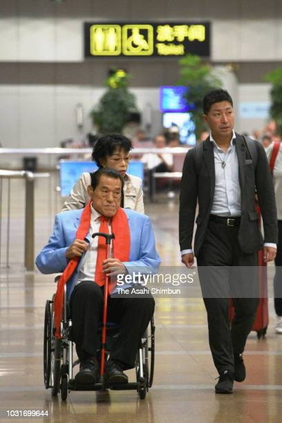 Japanese Upper House lawmaker Kanji Inoki aka Antonio Inoki is seen on arrival at Beijing International Airport after attending North Korea's 70th...