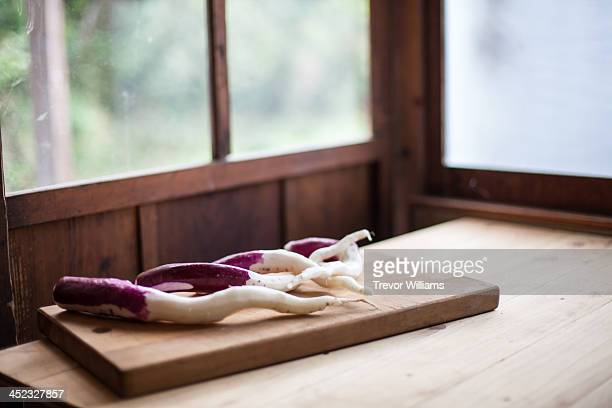 Japanese vegetable on a cutting board