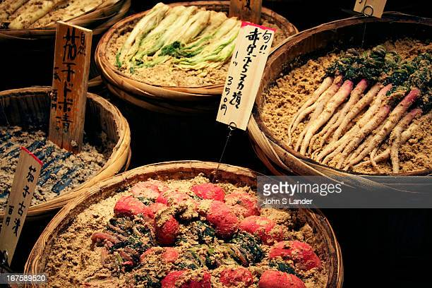 Japanese vegetables pickled in salted ricebran paste called Doboduke The most common vegetables to be pickled are radishes and turnips such as these...