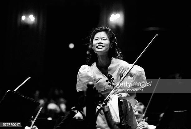 Japanese violin player Midori performs on August 28th 1991 at the Concertgebouw in Amsterdam, Netherlands.