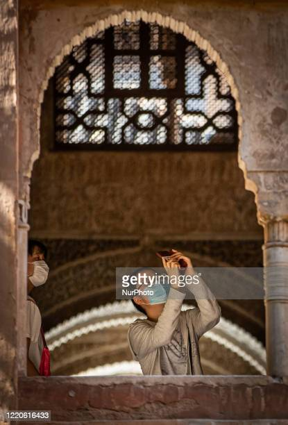 Japanese visitor during the reopening day of the Alhambra and all its palaces with prevention measures to avoid new Coronavirus infections on June...