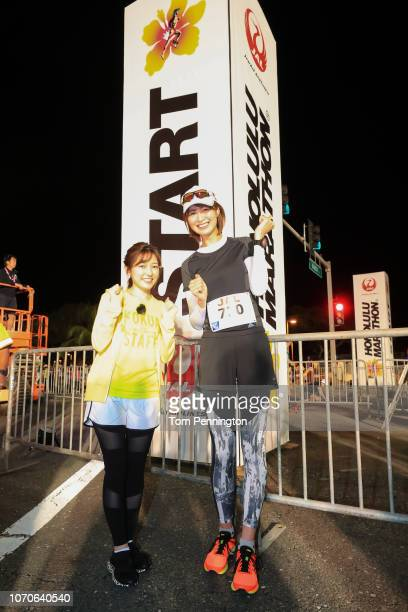 Japanese volleyball player Saori Kimura and Ambassador of event Mayu Watanabe are at the start line during the Honolulu Marathon 2018 on December 9...