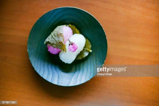 Japanese wagashi sakuramochi
