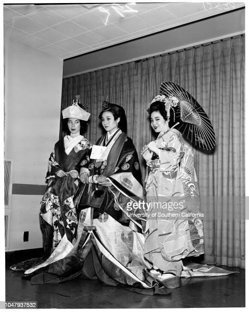 Japanese wedding gown March 25 1959 Toshia Sakunada Aiko Yamano Nobo McCarthy Mitsu Ko Caption slip reads 'Photographer Lapp Date Reporter Kline...